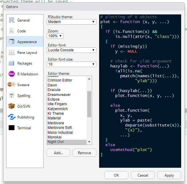 Using RStudio Themes – RStudio Support