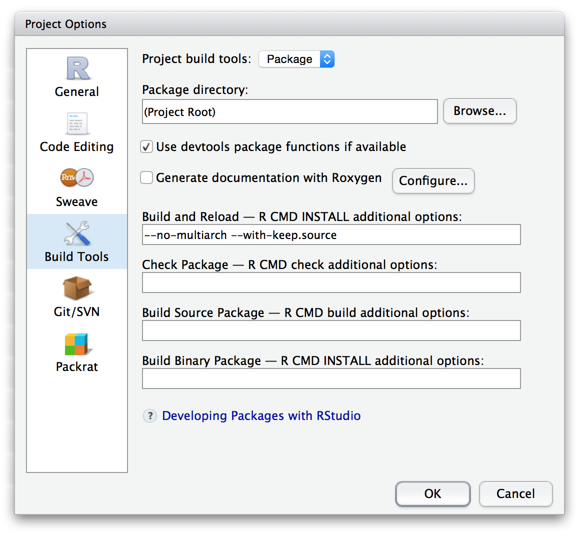 Customizing Package Build Options – RStudio Support