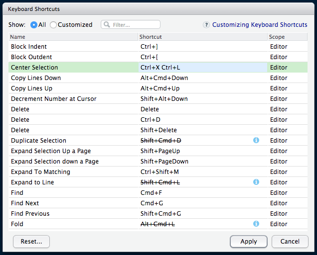 Customizing Keyboard Shortcuts – RStudio Support