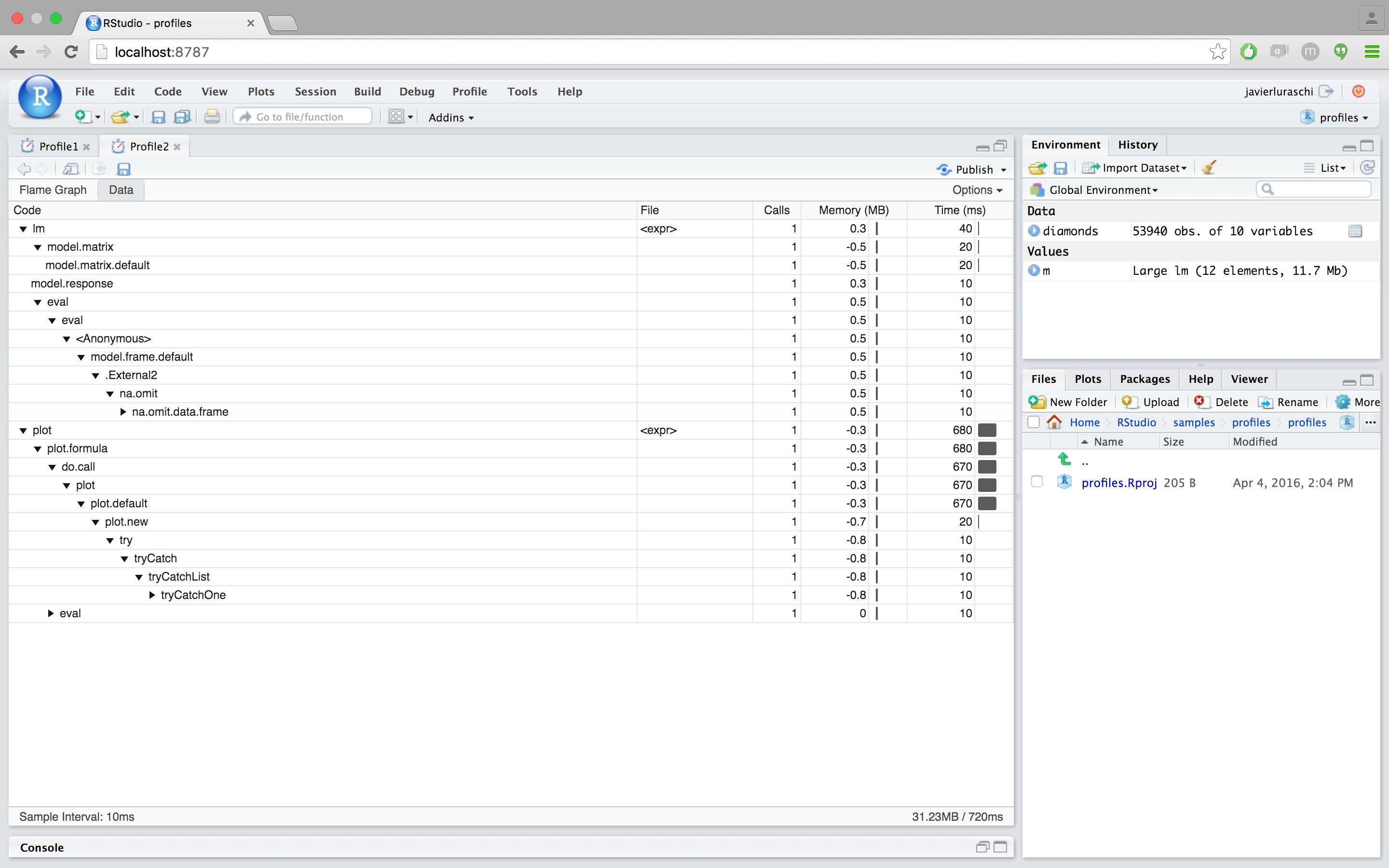 Profiling with RStudio – RStudio Support